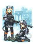 2girls animal_ears avr battlefield_(series) battlefield_2142 bf2142 black_legwear blonde_hair blue_eyes brown_hair camouflage cat_ears cat_tail digital_camouflage engineer eu explosive gun military military_uniform mine_(weapon) motion_mine multiple_girls pantyhose rifle tail tanaka_(cow) uniform weapon yamai