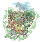 1boy 1girl artist_request imu imu_(lom) landscape legend_of_mana lowres scenery seiken_densetsu toto toto_(lom)