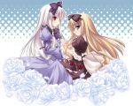 2girls 3.1-tan angel_wish blonde_hair blue_eyes bow cat cross crossover dos_cat dress flower frills hair_bow hairband hand_holding interlocked_fingers lolita_fashion long_hair long_sleeves look-alike looking_at_viewer multiple_girls neck_ribbon os-tan profile puffy_sleeves red_eyes ribbon rose shimakaze short_sleeves standing suzune_merveillex symmetrical_hand_pose very_long_hair white_hair