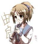 1girl glasses instrument lowres recorder school_uniform serafuku solo suzumiya_haruhi_no_yuuutsu tokyo_(great_akuta) translation_request