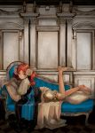 1girl architecture barefoot bloomers blue_upholstery bow couch dress feet hair_ornament layered_clothing legs long_hair looking_at_viewer lying on_stomach orange_hair pantaloons pillow redhead ringlets solo tufted_upholstery underwear victorian