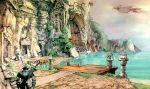 2boys adelbert_steiner airship final_fantasy final_fantasy_ix flying male_focus multiple_boys official_art zidane_tribal