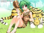 animal_costume asaba boned_meat caveman cavewoman food meat panties pantyshot pantyshot_(sitting) sitting tiger tiger_costume tiger_print underwear white_panties
