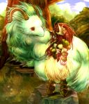 1girl albino ankle_boots armor armored_boots blue_sky boots claws day dragon dragoon full_body fur horns legend_of_mana lying monster on_stomach outstretched_arm petting plant red_eyes redhead rock seiken_densetsu sierra sky standing tree under_tree vadise white_fur