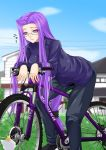 1girl bicycle cat fate/stay_night fate_(series) glasses kitten kitty long_hair low-tied_long_hair maho_(yakimorokoshi) purple_hair rider solo tied_hair very_long_hair violet_eyes