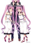 3girls :d :p arm_garter arms_behind_back choker euryale fate/hollow_ataraxia fate/stay_night fate_(series) hairband head_out_of_frame height_difference hiroyama_hiroshi lolita_hairband long_hair multiple_girls open_mouth pink_hair rider sandals siblings smile stheno tongue tongue_out twins twintails very_long_hair