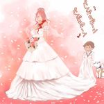 1boy 1girl amada_ken atlus breasts bride dress gloves hair_over_one_eye kirijou_mitsuru koromaru large_breasts long_hair michael persona persona_3 red_eyes redhead wedding wedding_dress