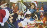 2boys 5girls absurdres asahina_mikuru cat christmas everyone fang highres koizumi_itsuki kyon kyon_no_imouto maid multiple_boys multiple_girls nagato_yuki reindeer santa_costume shamisen_(suzumiya_haruhi) suzumiya_haruhi suzumiya_haruhi_no_yuuutsu tsuruya yule_log