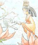 1girl ^_^ amaterasu animal arino_ouka barrel black_hair closed_eyes cowboy_shot from_side fur goddess heart japanese_clothes kimono kushi long_sleeves obi ookami_(game) profile sash standing white_fur wide_sleeves wolf