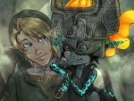 blonde_hair blue_eyes fang hat helmet imp link midna nintendo pointy_ears red_eyes short_hair smile the_legend_of_zelda the_legend_of_zelda:_twilight_princess