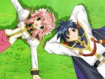 00s 1boy 1girl blush broccoli_(company) cape flower galaxy_angel game_cg hairband kanan milfeulle_sakuraba takuto_meyers