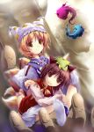2girls animal_ears blonde_hair brown_eyes brown_hair cat_ears cat_tail chen earrings feet female footwear fox_ears fox_tail hands hat jewelry kyuubi long_sleeves looking_at_viewer multiple_girls multiple_tails pillow_hat short_hair socks surcoat tabard tail touhou yakumo_ran yamamoto_nori yellow_eyes
