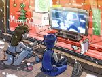 2girls ayane ayane_(doa) breasts christmas dead_or_alive game_console halo kasumi_(doa) medium_breasts multiple_girls nicole_458 parody poverty ryu_hayabusa siblings sideboob sisters spartan_(halo) tecmo thigh-highs xbox_360