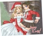 2girls berries blonde_hair blue_eyes boots christmas dress fate/stay_night fate_(series) female gloves green_eyes hat holly jacket long_hair merry_christmas! multiple_girls red_jacket saber santa_costume skirt thigh-highs tohsaka_rin twintails white_dress x-mas