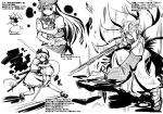 4girls animal_ears bobby_socks bow braid dual_wielding female fox_ears fox_mask fox_tail full_body hair_bow haniwa haniwa_(leaf_garden) hat hong_meiling inaba_tewi konpaku_youmu konpaku_youmu_(ghost) long_hair looking_at_viewer mallet mask monochrome multiple_girls open_mouth puffy_short_sleeves puffy_sleeves rabbit_ears running sandals shoes short_sleeves skirt smile socks star surcoat sword tabard tail touhou twin_braids vest weapon yakumo_ran