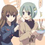 2girls child dejiko di_gi_charat food hamamo lowres multiple_girls oekaki puchiko winter_garden