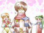 higurashi_no_naku_koro_ni lowres maebara_keiichi o3o ryuuguu_rena scarf shared_scarf sonozaki_mion take_it_home winter