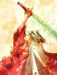 1boy blonde_hair closed_eyes male_focus mask ookami_(game) solo sword ushiwakamaru waka weapon