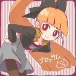 1girl akazutsumi_momoko bangs bent_over black_legwear blunt_bangs blush bow contemporary dress fur_collar fur_trim hair_bow hands_on_hips hyper_blossom jacket jewelry leaning_forward long_hair long_sleeves looking_at_viewer lowres necklace open_clothes open_jacket orange_hair pantyhose ponytail powerpuff_girls powerpuff_girls_z red_eyes smile solo striped striped_background thigh-highs very_long_hair