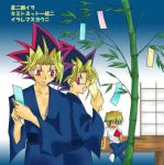 3boys dual_persona jounouchi_katsuya jpeg_artifacts male_focus multiple_boys mutou_yuugi new_year tanabata tanzaku yami_yuugi yu-gi-oh! yuu-gi-ou_duel_monsters