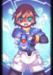 aile armor brown_hair capcom green_eyes henshin model_x rockman rockman_zx shorts weapon