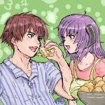 blue_hair blunette brown_hair cream_puff food furude_rika hanyuu higurashi_no_naku_koro_ni horns lowres maebara_keiichi pastry purple_hair violet_eyes