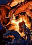1boy armor barding dragon fantasy fire full_armor horn horse horseback_riding nottsuo riding shield unicorn