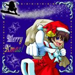 1boy baseball_bat bell blue_eyes bow brown_hair christmas crossdressing gloves hat higurashi_no_naku_koro_ni maebara_keiichi male_focus open_mouth pointing ribbon santa_costume smile solo