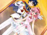 00s 1boy 1girl broccoli_(company) dress flower galaxy_angel game_cg kanan milfeulle_sakuraba pink_hair ribbon takuto_meyers