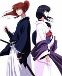 back-to-back blue_eyes blue_hair hakama haori himura_kenshin japanese_clothes katana kimono long_hair ponytail redhead rurouni_kenshin samurai sheath sheathed sword weapon yukishiro_tomoe