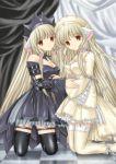 00s 2girls blonde_hair brown_eyes chii chobits freya gothic gothic_lolita lolita_fashion long_hair multiple_girls siblings sisters twins very_long_hair