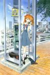 1girl bag blue_eyes brown_hair corded_phone duplicate highres honda_takeshi long_hair neon_genesis_evangelion phone phone_booth sadamoto_yoshiyuki school_bag school_uniform solo souryuu_asuka_langley watch watch