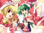 1boy 4girls blonde_hair christmas furude_rika higurashi_no_naku_koro_ni houjou_satoko maebara_keiichi multiple_girls ryuuguu_rena sonozaki_mion take_it_home thigh-highs to-ya_(to-ya_can)