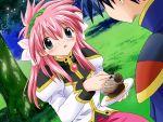 00s 1boy 1girl blush broccoli_(company) flower galaxy_angel game_cg hairband kanan milfeulle_sakuraba takuto_meyers