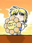 1girl animated animated_gif artoria_pendragon_(all) blonde_hair eating fate/stay_night fate_(series) lion lowres mister_donut moe pon_de_lion qvga riding saber solo what