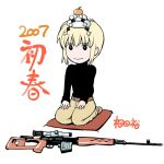 00s 2007 aida_yuu bullpup dragunov_svd gun gunslinger_girl kagami_mochi new_year rico rifle sniper_rifle suppressor weapon