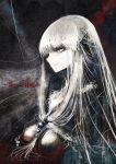 1girl breasts creepy female hair_bobbles hair_ornament kei kei_(keigarou) long_hair original partially_colored solo very_long_hair white_eyes white_hair