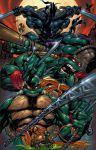 4boys bandanna bo_staff chains cityscape donatello epic joe_madureira katana leonardo male_focus manly michelangelo moon multiple_boys muscle nunchaku raphael sai_(weapon) shuriken staff sword teenage_mutant_ninja_turtles turtle weapon