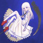 1girl dress gradient gradient_background momo_(shinigami_no_ballad) sakamoto_mineji scythe shinigami_no_ballad solo thigh-highs violet_eyes white_hair