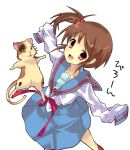 cat kyon_no_imouto oversized_clothes ponytail school_uniform serafuku side_ponytail suzumiya_haruhi_no_yuuutsu yuutarou