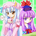 2girls blue_hair blush bow brown_eyes cosplay costume_switch female hat kamishirasawa_keine kamishirasawa_keine_(cosplay) multiple_girls patchouli_knowledge patchouli_knowledge_(cosplay) purple_hair touhou violet_eyes