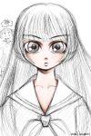 1girl bow brown_eyes dress japanese jigoku_shoujo kanji long_hair looking_at_viewer maria-sama_ga_miteru mike156 parody plait sailor_dress shimazu_yoshino shoes signature sketch solo