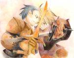 2boys armor delita_heiral drawfag final_fantasy final_fantasy_tactics multiple_boys ramza_beoulve sword weapon