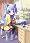 animal_ears blue_eyes blue_hair boots cat_ears cat_tail desk drawing long_hair mouth_hold original pocky room sakanaya_nakasa sketching tail thigh-highs