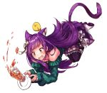 1girl animal_ears bare_shoulders boots cat_ears cat_tail clumsy cup eyebrows_visible_through_hair falling kamishiro_kurea kneehighs long_hair purple_hair simple_background skirt solo tail tea very_long_hair virtual_youtuber white_background yellow_eyes