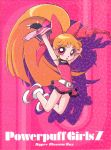 1girl akazutsumi_momoko bangs dress gloves hyper_blossom jumping orange_hair pink pink_eyes ponytail powerpuff_girls powerpuff_girls_z ribbon solo star