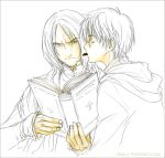 2boys annotated annoyed book chocolate harry_james_potter harry_potter long_sleeves male_focus monochrome mouth_hold multiple_boys open_book reading severus_snape simple_background spot_color upper_body valentine white_background yaoi yukipon
