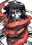 1boy getter_robo male_focus manly monochrome nagare_ryoma nakamura_kanko red_scarf scarf shin_getter_robo sideburns simple_background solo touei