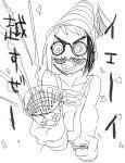 1girl amputee bikko glasses hat monochrome multicolored_hair oekaki original party_popper solo translated two-tone_hair yoshida_on