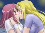 00s 2girls artist_name blonde_hair blush breasts closed_eyes dripping female hair_between_eyes hands hands_on_shoulders kaleido_star kiss large_breasts layla_hamilton long_hair looking_at_another moriya_naoki multiple_girls naegino_sora pink_eyes pink_hair purple_shirt shirt short_sleeves simple_background skin_tight surprised sweat taut_clothes taut_shirt upper_body watermark wet white_shirt yuri
